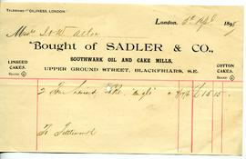 Sadler and Co, Delivery Note