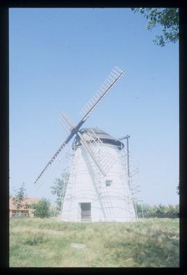 Preserved tower mill with sails and tailpole