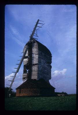 Post mill, Moreton, derelict, with two sails
