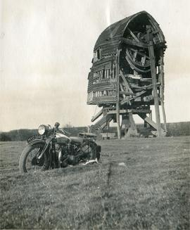 Post mill, Bledlow Ridge, decaying, with motorbike