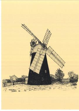 Freehand sketch of Thelnetham windmill 1986