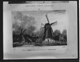 Drawing with 2 windmills on River Welland