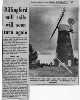 """Billingford mill sails will soon turn again"""