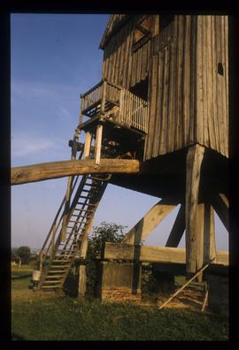 Detail of restored open-trestle post mill