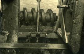 Worm gear on cap drive and striking rod, smock mill, Herne