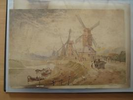 Watercolour of 5 windmills beside a river