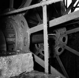 Detail of axle and spokes of waterwheel, watermill, Clapton