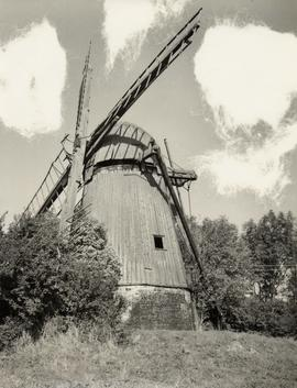 Derelict exterior showing damaged sail frameworks, smock mill, West Wratting