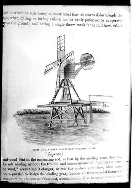 Drawing of open-trestle hollow-post windpump