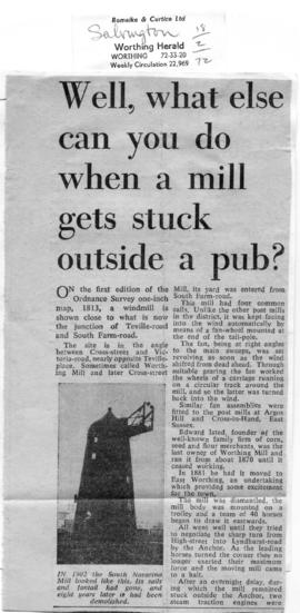 """… Mill stuck outside a pub"""