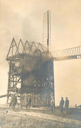 Windmill at Komarovo on fire