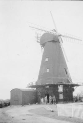 Smock mill, Herne, with group, during repairs
