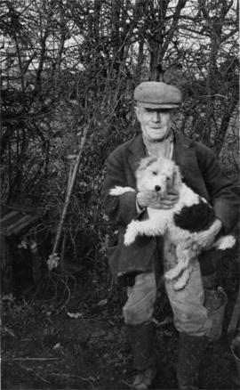 Albert Dean with dog, Town Mill, Biddenden