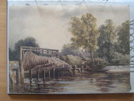 Watercolour of weir with eel traps