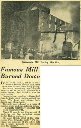 """Famous mill burned down"""