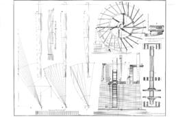 Dutch drainage mill shaft + scoop wheel