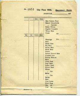 City Flour Mills, Norwich, Delivery Notes
