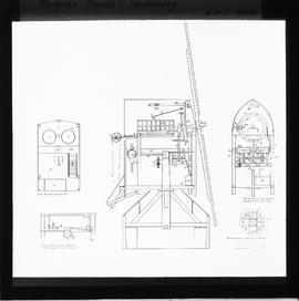 Photograph of sectional drawings of post mill and machinery, Reigate Heath Mill, Reigate