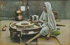 Grinding wheat for evening Khana