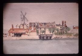 Painting of Bishopstone tide and smock mills