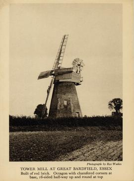 Gibraltar Mill, Great Bardfield, with two figures climbing on sail
