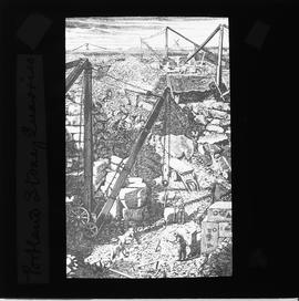 Engraving(?) of quarry with crane at work in foreground and windmill, apparently smock or tower, ...