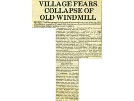 """Village fears collapse of old windmill"""