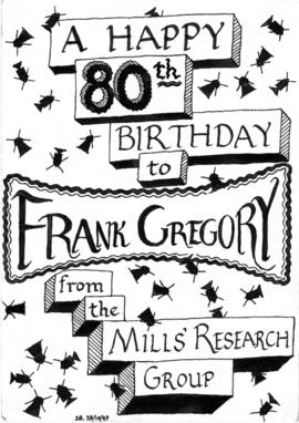 80th birthday design for Frank Gregory