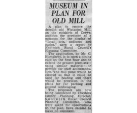 """Museum in plan for old mill"""