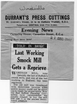 """Last working smock mill gets a reprieve"""