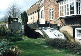 Stanley's Mill, Temple Ewell and River, with waterwheel