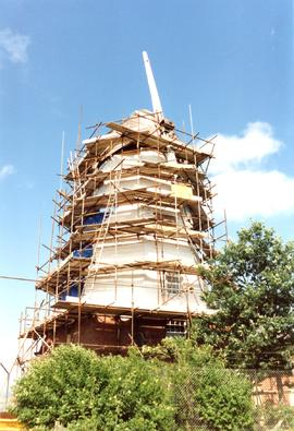 scaffolded for repair, smock mill, Willesborough