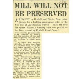 """Mill will not be preserved"""