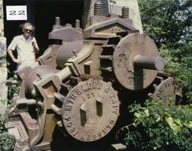 Photograph of a horizontal three-roll crusher at New Winthropes Mill, Antigua
