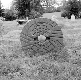 Miller's tombstone constructed from a former millstone