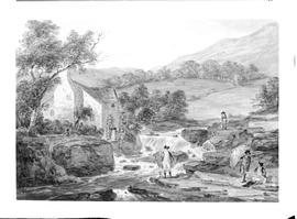Painting of a water mill with two water wheels and four gentlemen