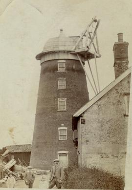 Storm damage, tower mill, Debenham