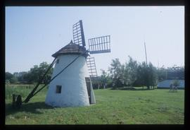 Very small restored tower mill with conical cap, tailpole and short sails