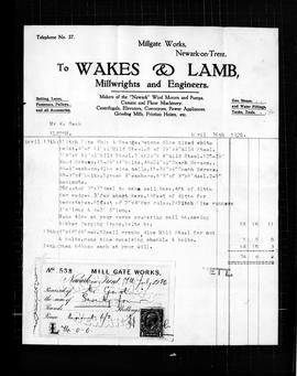 Wakes and Lamb of Newark, Nottingham - bill for new sails