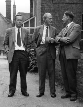 Rex Wailes with Mr. Powell and  Mr. P. Baker, Union Mill, Cranbrook