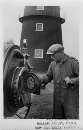 Tommy Ward, the last miller at Sibsey, with his steam engine
