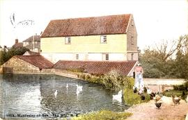 Paston Road Mill, Mundesley, and pond with female figure