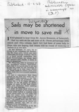 """Sails me be shortened in move to save mill"""