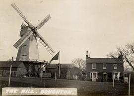 Miles's Mill, Boughton Street, with house to the right and a flag flying