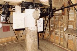 First (meal) floor showing main-post, cross-tree and tentering gear, post mill, Chillenden