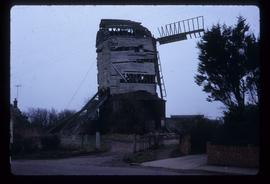 Downs Mill, Bexhill, derelict, with two sails visible