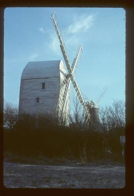 Preserved post mill and tower mill with sails