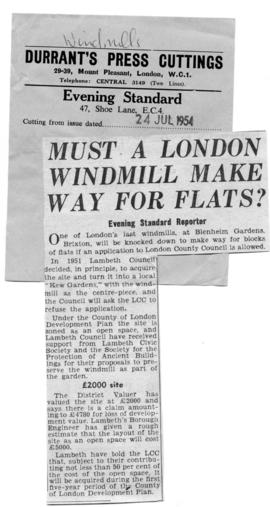"""MUST A LONDON WINDMILL MAKE WAY FOR FLATS?"""