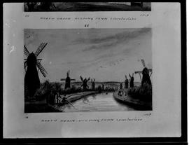 Photograph of drawing with windmills