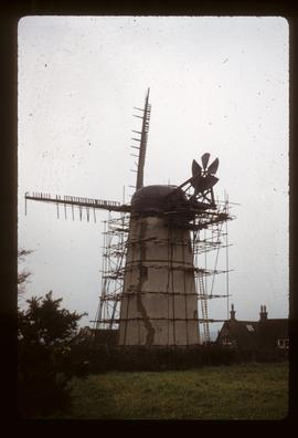 House conversion, scaffolded for repairs, with damaged sails, Waterhall Mill, Patcham